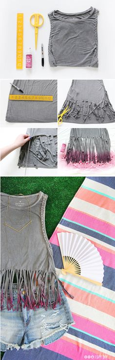 Imaginative Halloween Costumes - The Best Way To Be Artistic With A Budget My Diy Festival Fringed Tank I Spy Diy Diy Clothes Refashion, Shirt Refashion, T Shirt Diy, Cut Up T Shirt, Cut Shirts, Shirt Style, Cutting T Shirts, T-shirt Und Jeans, I Spy Diy