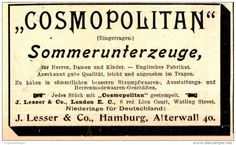 Original-Werbung/ Anzeige 1898 - COSMOPOLITAN SOMMERUNTERZEUGE / LESSER - LONDON…