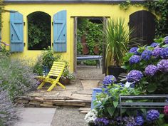 blue, color, courtyard gardens, patio, garden idea