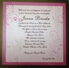 This Bat Mitzvah girl's talented Grandmother created every invitation by hand!