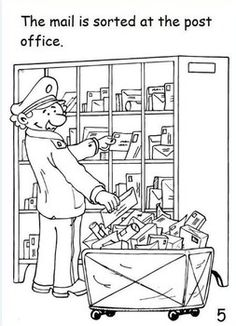 Mail Delivery Process Pack Preschool Books, Preschool Worksheets, Mailman Crafts, Colouring Pics, Coloring Pages, Post Brief, Kindergarten, School Clipart, Teaching Aids