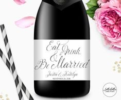 Mini Champagne label Eat Drink and Be Married Gold by LolliBella