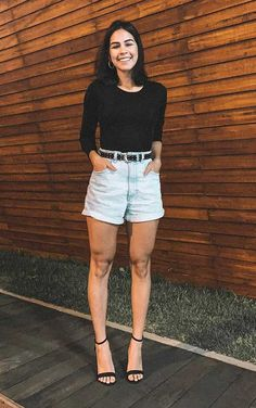 Cool Outfits, Summer Outfits, Casual Outfits, Jean Short Outfits, Short Jeans, Looks Style, Casual Looks, Look Con Short, Girl Fashion