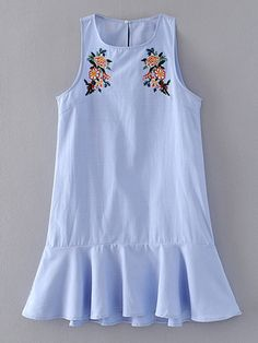 Flower Embroidery Ruffle Hem Tank Dress