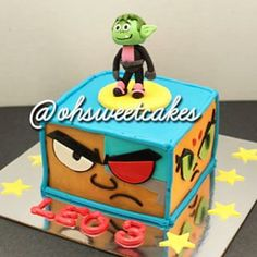 Teen titans go cake- feature favorite character or also make flat on top