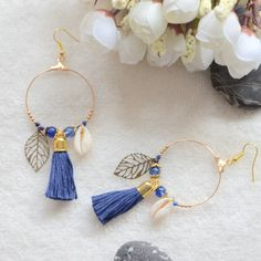 Boucles d'oreilles dorees Marine Bleus feuilles et coquillages