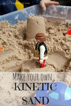 This DIY recipe for Kinetic Sand only takes 3 ingredients, and costs about a third of what commercial brands of Kinetic Sand retails for. Kids love sensory play like this, and will occupy them for hours. See how to make your own Kinetic Sand here!