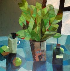 Will's Art Warehouse - contemporary fine art and gallery, modern oil paintings. Blue Bottle with House Plant. Painting Still Life, Still Life Art, Flower Collage, Flower Art, Modern Oil Painting, Painting & Drawing, Illustrations, Illustration Art, Still Life Flowers