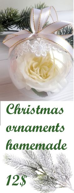 Flower Christmas ornament White Holiday Decorations Christmas tree decor Cool xmas gift for sister Mom Christmas gift from daughter, 12$ #Christmas #ornament #Holiday #Decorations #xmas #gift #decor
