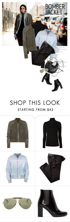 """Bomber Jackets"" by magdafunk ❤ liked on Polyvore featuring Rick Owens, Majestic Filatures, Burberry, Ray-Ban, Yves Saint Laurent, women's clothing, women, female, woman and misses"