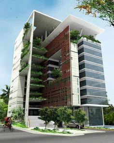 Resultado de imagen para fachadas modernas edificios pequeños #fachadasmodernas #fachadasverdesarchitecture