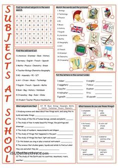 Worksheet on practising/reinforcing school subjects vocabulary.Key included. - ESL worksheets