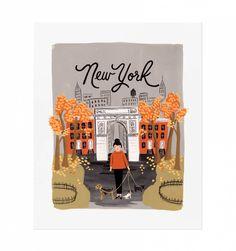 New York Autumn Illustrated Art Print