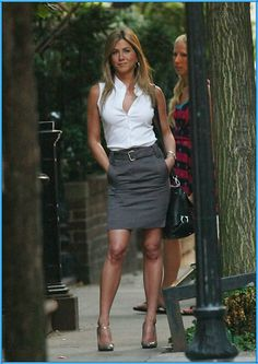 Classic white, sleeveless button down shirt, grey pencil skirt, black JF Provoke bag, and grey Macey heels Provoke -