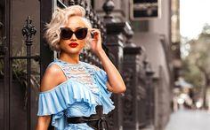 Download wallpapers Micah Gianneli, portrait, blogger, beautiful woman, blonde, blue dress, fashion blogger