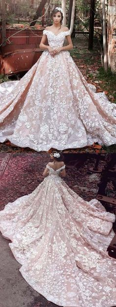 Luxurious Off Shoulder Watteau Train Short Sleeves Organza Wedding Dress with Lace 2018