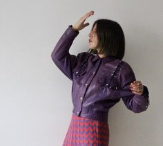 c54d32fc55e7 Prince   purple leather with laced short jacket   jacket Vintage 80-90    Rock   roll   size 38 S-M   snap. Cuir VioletVesteBoutons Pression TaillePrinceRock