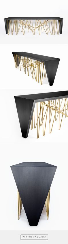 The Chaos Console by Daniel Germani Designs is inspired by the iconic design of the B.K.F. chair by Grupo Austral. This console pairs Dekton's Ananke – a stunning black wood finish – with a curved tubular structure.