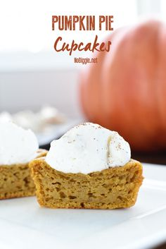 Pumpkin Pie Cupcakes...yep! Cupcakes. They're like the perfect blend between our two favorites pumpkin pie and cupcakes in a perfect little cupcake package.