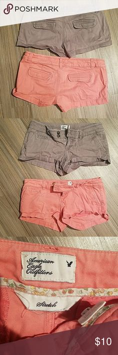 American eagle shorts 2 American eagle shorts size 0, one coral color and the other grey American Eagle Outfitters Shorts