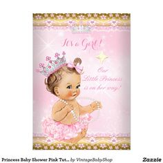 Princess Baby Shower Pink Tutu Gold Tiara Brunette 5x7 Paper Invitation Card