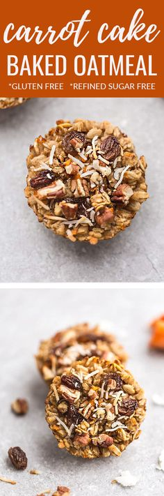 Carrot Cake Baked Oatmeal - the perfect easy and healthy make-ahead breakfast to enjoy throughout the week. Best of allthis spring recipe is easy to customize and you can make them into muffin cups for a portable snack on the go. Made with gluten free oa Healthy Make Ahead Breakfast, Healthy Breakfast Muffins, Gluten Free Recipes For Breakfast, Breakfast On The Go, Best Breakfast, Brunch Recipes, Dessert Recipes, Scone Recipes, Breakfast Bites