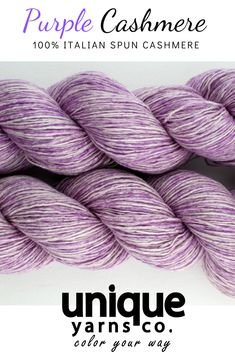 Lace weight cashemre yarn: the violet variegated color lets the yarn's natural background come through. Stunning! #uniqueyarnsco #cashemreyarn #cashemrewool
