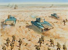 O'Connor's Attack on Fort Nibeiwa, 9 December 1940 - pin by Paolo Marzioli Military Diorama, Military Art, Military History, Ww2 Pictures, Ww2 Photos, North African Campaign, Military Drawings, Afrika Korps, Ww2 History