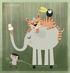 Elephant illustration - boy pulling elephant with ice-cream cone - tiger on this back and tucan