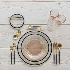 Black and gold and blush all over With our Halo Glass Chargers and Dinnerware in Black + Vintage Pink Swirl Collection Plates + Goa Flatware in Gold/Black + Vintage Pink Swirl Goblets + Vintage Champagne Coupe + Gold Salt Cellars + Tiny Gold Spoons # Vintage Champagne, Deco Design, Food Design, Dinner Sets, Deco Table, Decoration Table, Home Accents, Home Accessories, Kitchen Decor