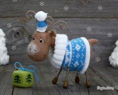 Needle felted Reindeer -Deer - Christmas gift - Needle felted animal - Soft…