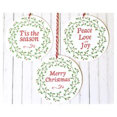 This listing is for one mixed pack of 12 3/ 7.6cm round tags featuring Merry Christmas, Tis The Season and Peace Love and Joy. You will receive 4 of each tag as shown in the images above. This mixed pack of Christmas gift tags are designed by me, then printed onto textured white card stock and have approx 7.8in/20cm of either red bakers, natural cotton or jute twine attached to each one for your convenience. They are also available without twine for you to use your own stringing materials…