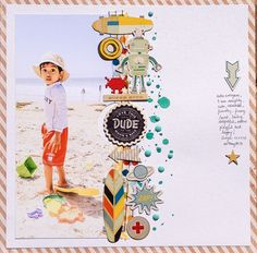 Love this dude - Scrapbook.com - Love the extra long photo and border of die cuts, splatters and epoxy dots.