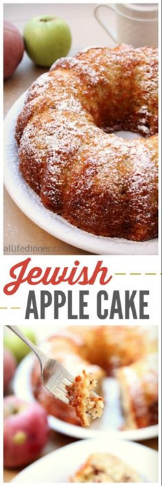 This Jewish Apple Cake Recipe is the most delicious Apple cake you will ever have. Grated Apples, Cinnamon baked in a bundt pan. Beaux Desserts, Köstliche Desserts, Delicious Desserts, Passover Desserts, Apple Dessert Recipes, Apple Recipes, Bunt Cakes, Cupcake Cakes, Cupcakes
