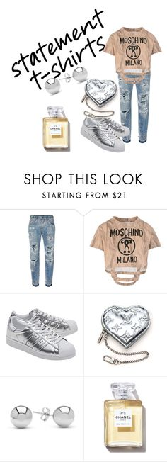 """""""Statement T-shirt"""" by sofiacalo ❤ liked on Polyvore featuring Dolce&Gabbana, Moschino, adidas Originals, Louis Vuitton and Jewelonfire"""