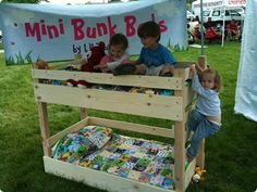 Kids Climbing a Small Toddler Mini Bunk Bed, made with natural hard/real wood!