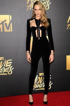 Cara Delevingne wearing Balmain at the MTV Movie Awards