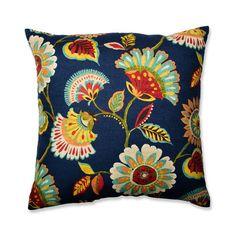 Pillow Perfect Ailey Prussian Cotton Throw Pillow & Reviews   Wayfair