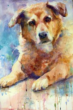 dog watercolor, adorable!
