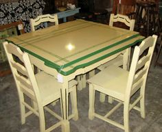 Enamel Top Farm Table/ I want this. Cream and green, what could be more inviting to sit at in the kitchen.