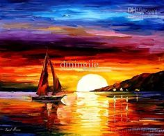 Wholesale Party Supplies - Buy Hand Painted Sunrise Sea High Q. Landscape Knife Oil Painting on Canvas 16X16inch Mixorde Framed, $16.63 | DHgate