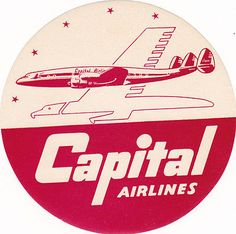 Vintage Airline Luggage Label CAPITAL AIRLINES logo bird & turbo prop image