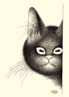 Les yeux souris  ^^  dessin d'Albert Dubout (1905-1976) dessinateur humoriste et peintre français.