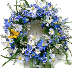 Blue Spring Wreath Blue door wreath Daisy wreath by LisasLaurels