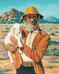 """""""Beautiful symbolism: the shepherd, leaving his flock behind, to search for the one lost lamb. It's a good season, there's plenty for the sheep to graze. Is the man talking to lamb, warning it to stay with the flock because danger lurks out there? Namaqualand sheep & goat farmer - Hannes van der Walt"""