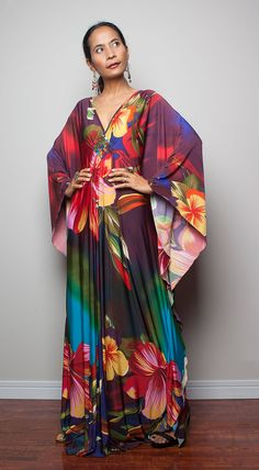 Floral Maxi Dress  Kimono Butterfly Boho Print Maxi by Nuichan, $59.00