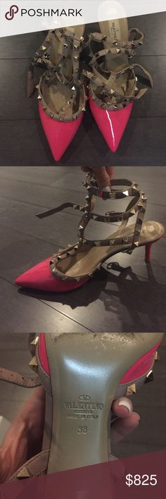 Valentino rock studs Hot pink paten Valentino Rockstuds. Lower heel with three straps that buckle around ankle. Worn twice . Size 38. Valentino Shoes Heels