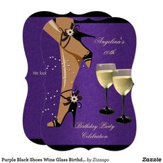 Shop Purple Black Shoes Wine Glass Birthday Party Invitation created by Zizzago.