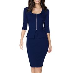 online shopping for Miusol Women's Square Neck Busniess Peplum Fitted Casual Bodycon Dress from top store. See new offer for Miusol Women's Square Neck Busniess Peplum Fitted Casual Bodycon Dress Bodycon Outfits, Dress Outfits, Fashion Dresses, Bodycon Dress, Sheath Dress, Ladies Outfits, Wrap Dress, Office Dresses, Office Outfits