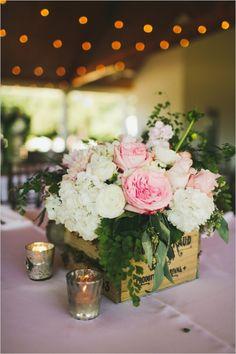 floral wedding box #floralideas #rusticwedding #weddingchicks http://www.weddingchicks.com/2014/01/07/lace-and-burlap-wedding/
